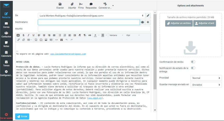 Nuevo email con firma incrustada