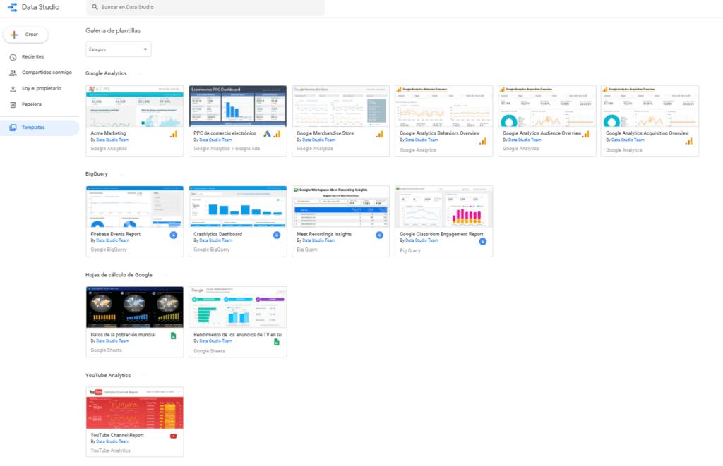 Plantillas de informes de Google Data Studio
