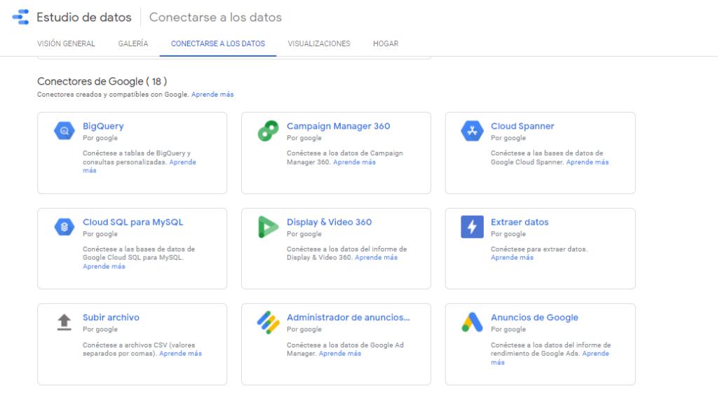 Tipos de datos a los que se puede acceder con Google Data Studio